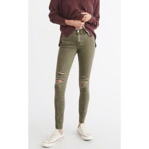 Abercrombie & Fitch Skinny Distressed Green Jeans